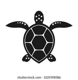 Sea turtle black icon illustration