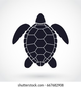 sea turtle black white illustration symbol