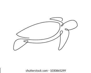 Sea turtle continuous line vector design. Eps10.