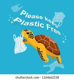 """Sea turtle eating plastic bag. """"Plastic pollution"""" Vector illustation"""