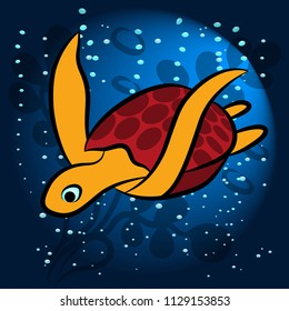 Sea turtle, exotic. waterfowl animal. Floats surrounded by air bubbles, against the background of seaweed blue. In a ray of light. For printing on fabric, clothing. Vector illustration.
