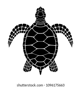 Sea turtle graphic icon. Sea turtle black sign isolated on white background. Tattoo. Vector illustration