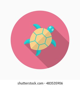Sea turtle  icon, Vector flat long shadow design. EPS10