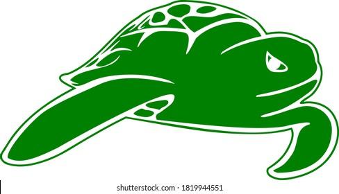 Sea Turtle Illustration green swimming ocean turtle, marine life drawing, simple big turtle