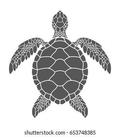 Sea turtle. Isolated turtle on white background. Vector illustration