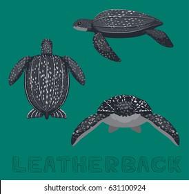 Sea Turtle Leatherback Cartoon Vector Illustration