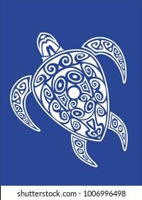 Sea turtle in the Maori style. Blue background