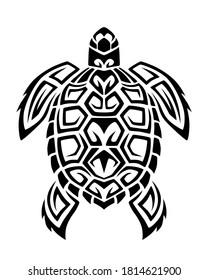 Sea turtle in Maori tattoo tribal style. Black and white sketch or logo.