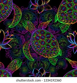 Sea turtle in psychedelic multicolor colors with lotuses and mandala in the style of boho - seamless pattern