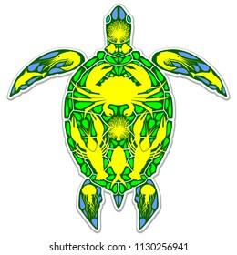 Sea Turtle Reef Marine Life Abstract Symbol Tattoo Style