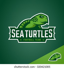 Sea turtle sports emblem mascot logo graphic design