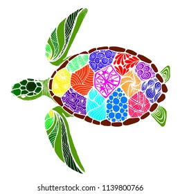 sea turtle in the style of zentangle