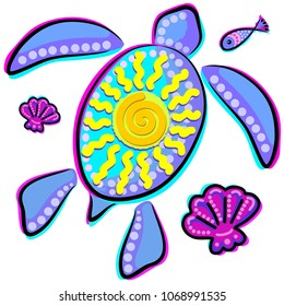 Sea Turtle and Sun Abstract Glitch Ultraviolets, vector logo, symbol of health, longevity and journey.