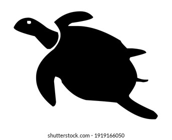 Sea turtle, tortoise with fins diving, sea animal, silhouette, vector, illustration in black and white color, isolated on white background