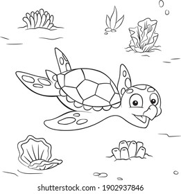 Sea Turtle underwater Children's coloring Marine animal