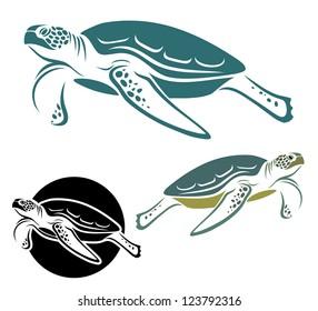 Sea turtle - vector illustration