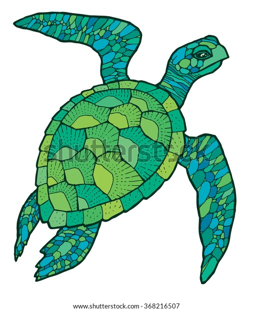 sea turtle - vector stylized drawing