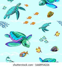 Sea Turtles Dance Oceanlife Vector Seamless Pattern