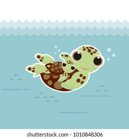 Sea turtles family swimming in the ocean.Cartoon style.