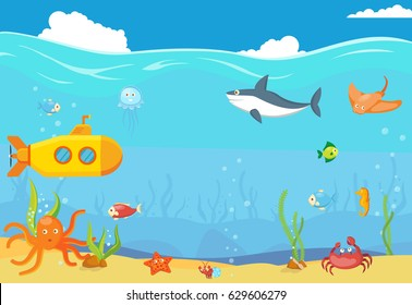 Sea underwater blue landscape. Template background of underwater tropical marine life with fish, yellow submarine, shark, octopus, jelly fish and more. Isolated. Vector.