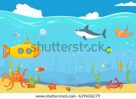 Sea Underwater Blue Landscape Template Background Stock Vector ...