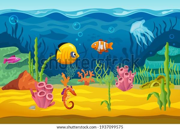 Sea underwater fishes for Nursery School Walls Decoration