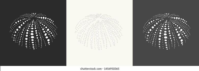 Sea urchin silhouette on different backgrounds.