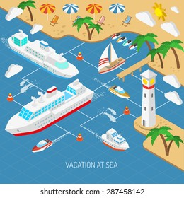 Sea vacation and ships with beach umbrellas chaise lounges and palms isometric concept vector illustration