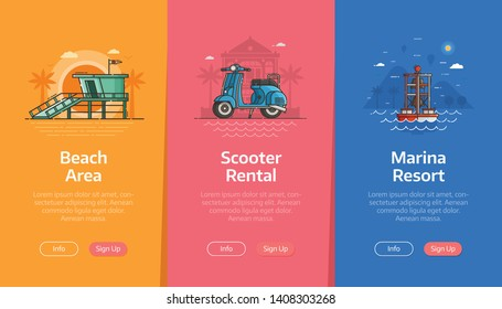 Sea vacation vertical banners for beach resort application. Summer traveling agency onboarding UI screens. Adventure on seaside coast scenes with baywatch tower, blue scooter and sea buoy.