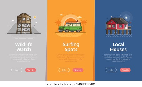 Sea vacation vertical banners for beach resort application. Summer traveling agency onboarding UI screens. Adventure on seaside coast scenes with baywatch tower, surfing car and fisherman house.