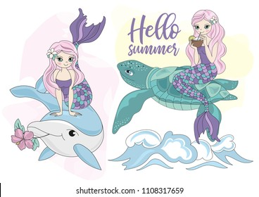 Sea vector colorful illustration MERMAID, TURTLE and DOLPHIN