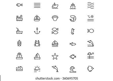 Sea Vector Line Icons 1