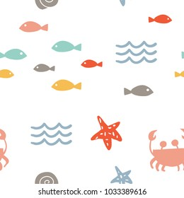 Sea vector seamless pattern with hand drawn stars, fish, crab, waves on white. Nautical background. Cartoon illustration. Hand drawn abstract background for textile, covers, package, wrapping paper