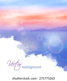 Sea vector watercolor background calm and clear. Marine landscape