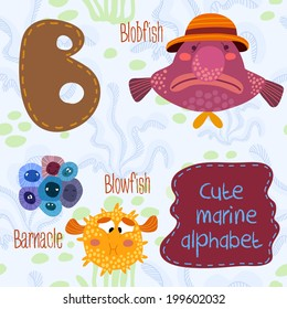 Sea very cute  Alphabet.B letter.Blobfish,blowfish,barnacle Alphabet design in a colorful style.