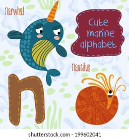 Sea very cute  Alphabet.N letter.Narwhal,Nautilus Alphabet design in a colorful style.