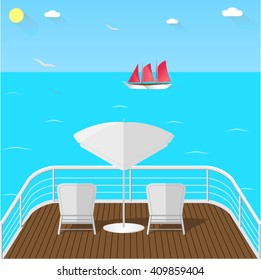 Sea view balcony with white armchairs and umbrella, wooden floor and white railing. Horizon view, ship with red sail, gulls and blue sea. Sea traveling vector illustration.