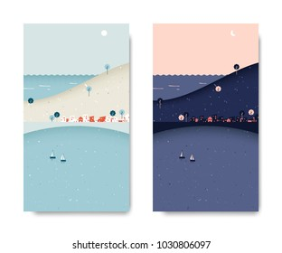 Sea view scenery landscape, small village with mountain and sea view, day and night time lapse, postcard template
