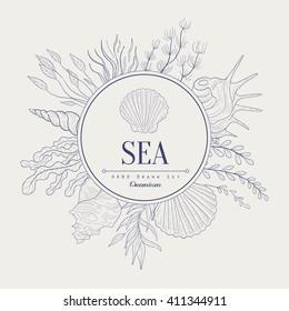 Sea Vintage Vector Hand Drawn Design Card