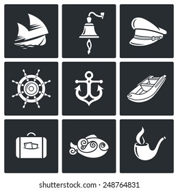 Sea voyage, the captain Vector Icons Set