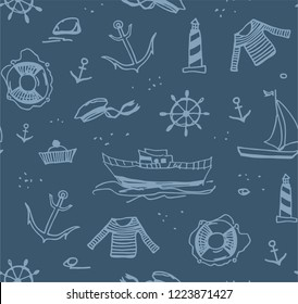 Sea voyage, line drawings on a dark gray field. The profession of a sailor.