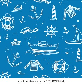 Sea voyage, white drawings on a blue field. The profession of a sailor.