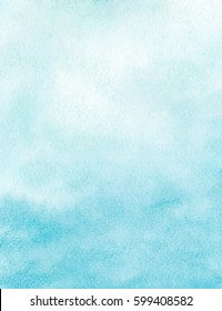 Sea water background, abstract hand painted watercolor texture, vector illustration
