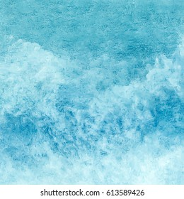 Sea water texture, abstract hand painted watercolor background, vector illustration