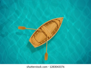 Sea water and wooden boat. Ocean surface with wave. Sailing ship. Top view. Blue aqua basin. EPS10 vector illustration.