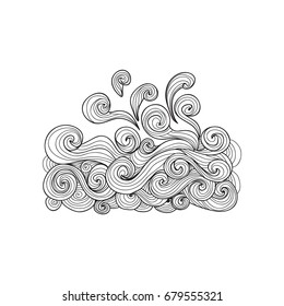 Sea wave coloring book for adults vector illustration. Anti-stress coloring for adult water, river, stream, sea, ocean, sea foam. Zentangle style nature . Black and white lines