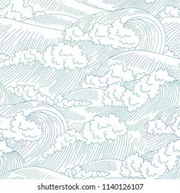 Sea wave graphic surf blue color seamless pattern background sketch illustration vector