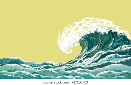 Sea wave. Hand drawn realistic vector illustration in oriental vintage ukiyo-e style.
