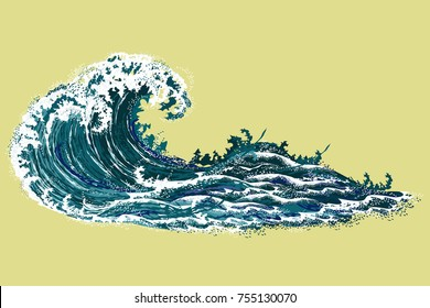 Sea wave. Hand drawn realistic vector illustration in oriental vintage ukiyo-e style isolated on yellow background.
