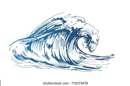 Sea wave. Hand drawn sketch converted to vector